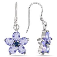 3.50 Carat Tanzanite and Sapphire Flower Earrings in .925 Sterling Silver