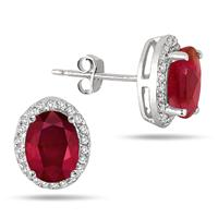 2.50 Carat Ruby and White Topaz Halo Earrings in .925 Sterling Silver