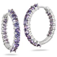 3.25 Carat Round Tanzanite Inside Out Hoop Earrings in .925 Sterling Silver