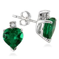 3.50 Carat Heart Shape Lab Created Emerald and Genuine Diamond Earrings in .925 Sterling Silver
