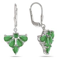 4.00 Carat All Natural Emerald Drop Earrings in .925 Sterling Silver