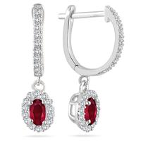 1/2 Carat Ruby and Diamond Halo Dangle Earrings in 10K White Gold