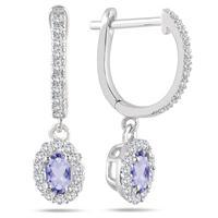 1/2 Carat Tanzanite and Diamond Halo Dangle Earrings in 10K White Gold