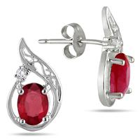 2.10 Carat All Natural Ruby and Diamond Earrings in .925 Sterling Silver