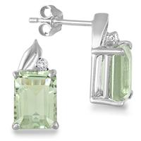 3.20 Carat Green Amethyst and Diamond Earrings in .925 Sterling Silver