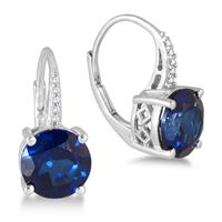 8MM Created Sapphire and White Topaz Earrings in .925 Sterling Silver