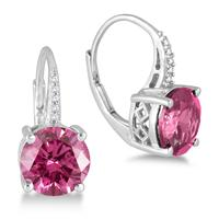 8MM Created Pink Sapphire and White Topaz Earrings in .925 Sterling Silver