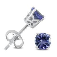 5MM Round Tanzanite Stud Earrings in .925 Sterling Silver