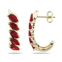 1.10CTW Ruby Hoop Earrings in Yellow Gold