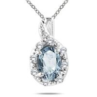 10K White Gold Aquamarine and Diamond Pendant