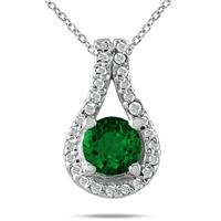 5/8 CTW Emerald and Diamond Pendant in 10K White Gold