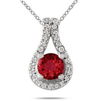 5/8 CTW Ruby and Diamond Pendant in 10K White Gold