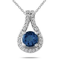 5/8 CTW Sapphire and Diamond Pendant in 10K White Gold