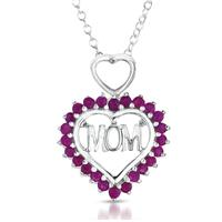 1.25 Carat Ruby MOM Heart Pendant in .925 Sterling Silver