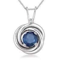 3/4 Carat Sapphire and Diamond Infinity Pendant in .925 Sterling Silver