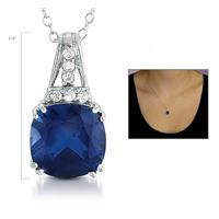 5.25 Carat Created Sapphire and Created White Sapphire Pendant in .925 Sterling Silver