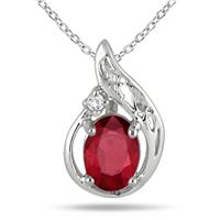 1.00 Carat Ruby and Diamond Engraved Pendant in .925 Sterling Silver
