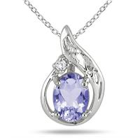 1 Carat Tanzanite and Diamond Pendant in .925 Sterling Silver