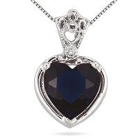 10MM Heart Shape Lab Created Sapphire and Genuine Diamond Pendant in .925 Sterling Silver
