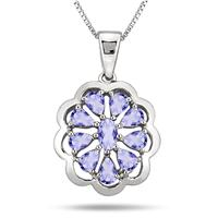1.40 Carat Tanzanite Pendant in .925 Sterling Silver