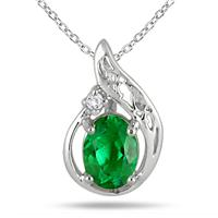 1 Carat Created May Emerald Birthstone and Diamond Pendant in .925 Sterling Silver