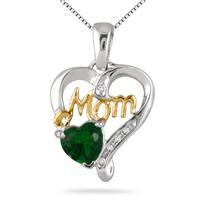 6MM Created Emerald & Diamond MOM Pendant .925 Sterling Silver