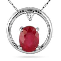 1.85 Carat Genuine Ruby and Diamond Pendant in .925 Sterling Silver