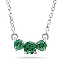 1.00 CTW Emerald Three Stone Pendant Necklace 14K White Gold