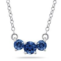 1.00 CTW Sapphire  Three Stone Pendant Necklace 14K White Gold