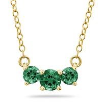 1.00 CTW Emerald Three Stone Pendant Necklace 14K Yellow  Gold