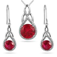 7.25 Carat Lab Ruby and Genuine Diamond Pendant and Earring Set in .925 Sterling Silver