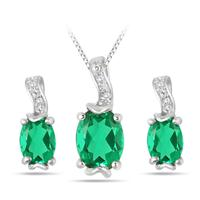 2.25 Carat T.W Created Emerald and Diamond Set in .925 Sterling Silver