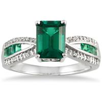 8x6MM Created Square and Princess Emerald and Diamond ring in .925 Sterling Silver
