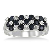 2.00 Carat Round Sapphire and Diamond Ring in .925 Sterling Silver