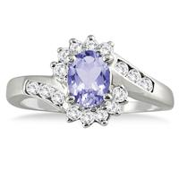 1 Carat Tanzanite and Diamond Flower Twist Ring in 14K White Gold