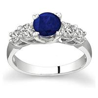 5 Stone Sapphire and Diamond Ring