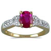 Antique Ruby and Diamond Ring 14K Yellow Gold