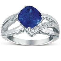 Cushion-Cut Created Blue Sapphire & Genuine Diamond Ring in Solid .925 Sterling Silver