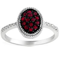 1/3 Carat Ruby and Diamond Ring in .925 Sterling Silver