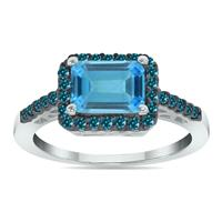 2.50 Carat Emerald Cut Blue Topaz and Blue Diamond Ring in 10K White Gold
