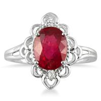 2.50 Carat Oval Ruby and Diamond Engraved Ring in 10K White Gold