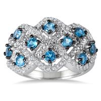 7/8 Carat Genuine London Blue Topaz and Diamond Ring in .925 Sterling Silver