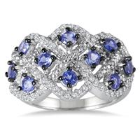 Genuine Tanzanite and Diamond Ring in .925 Sterling Silver