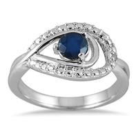 3/5 Carat Sapphire and Diamond Ring in .925 Sterling Silver