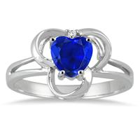 1.00 Carat Created Heart Shape Sapphire and Genuine Diamond Ring in .925 Sterling Silver