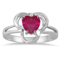 1.00 Carat Heart Shape Genuine Ruby and  Diamond Ring in .925 Sterling Silver