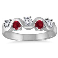 1 Carat Ruby and White Topaz 5 Stone Band in .925 Sterling Silver