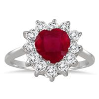 Heart Shape Ruby and White Topaz Brilliance Ring in .925 Sterling Silver