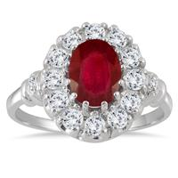 1.75 Carat Ruby White Topaz and Diamond Royal Ring in .925 Sterling Silver