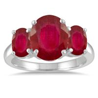 6.00 Carat TW Ruby Three Stone Ring in 10K White Gold